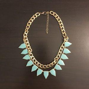 Fun, bright turquoise and gold necklace